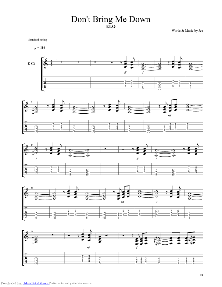 Dont Bring Me Down Guitar Pro Tab By Electric Light Orchestra