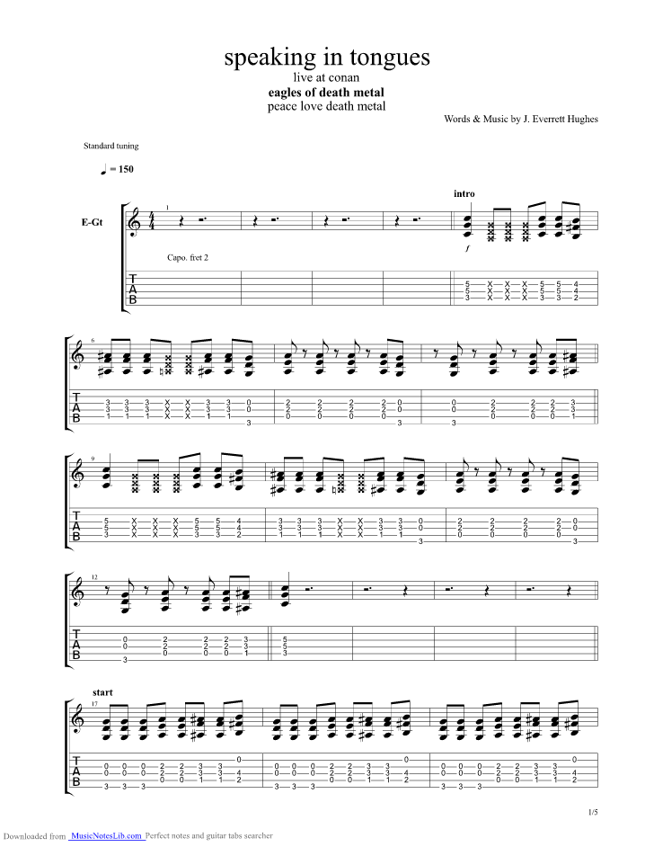 Speaking In Tongues guitar pro tab by Eagles Of Death Metal @ musicnoteslib.com