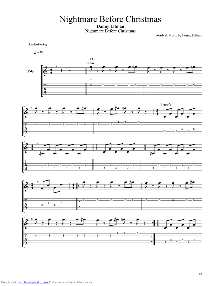 this is halloween guitar pro tab by nightmare before christmas musicnoteslibcom - Halloween Theme Song Guitar
