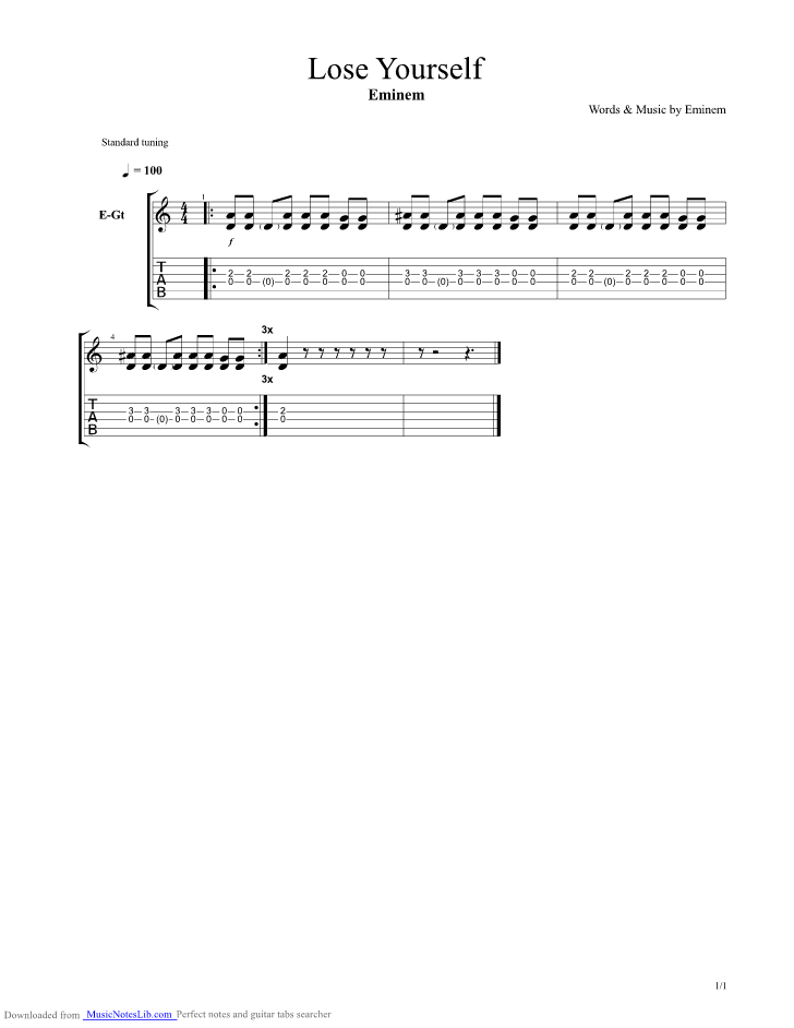 Lose Yourself intro guitar pro tab by Eminem @ musicnoteslib.com