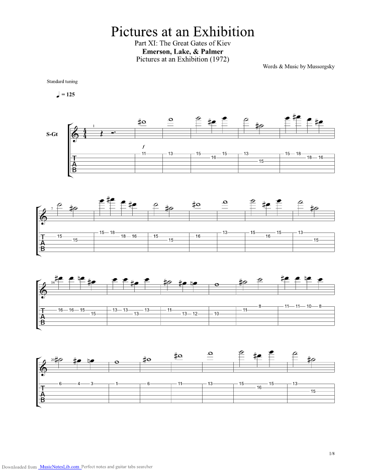 The Great Gates Of Kiev Guitar Pro Tab By Emerson Lake And Palmer
