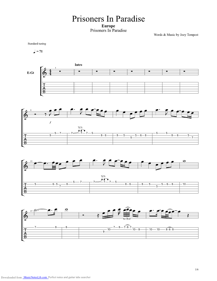 Prisoners In Paradise Guitar Pro Tab By Europe Musicnoteslib