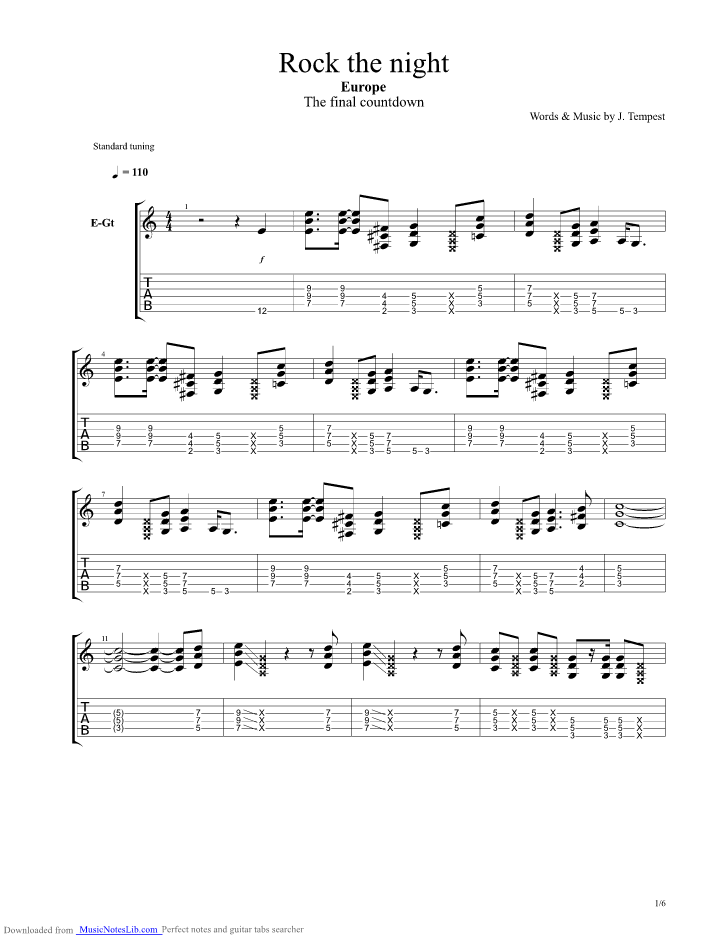 Rock The Night Guitar Pro Tab By Europe Musicnoteslib