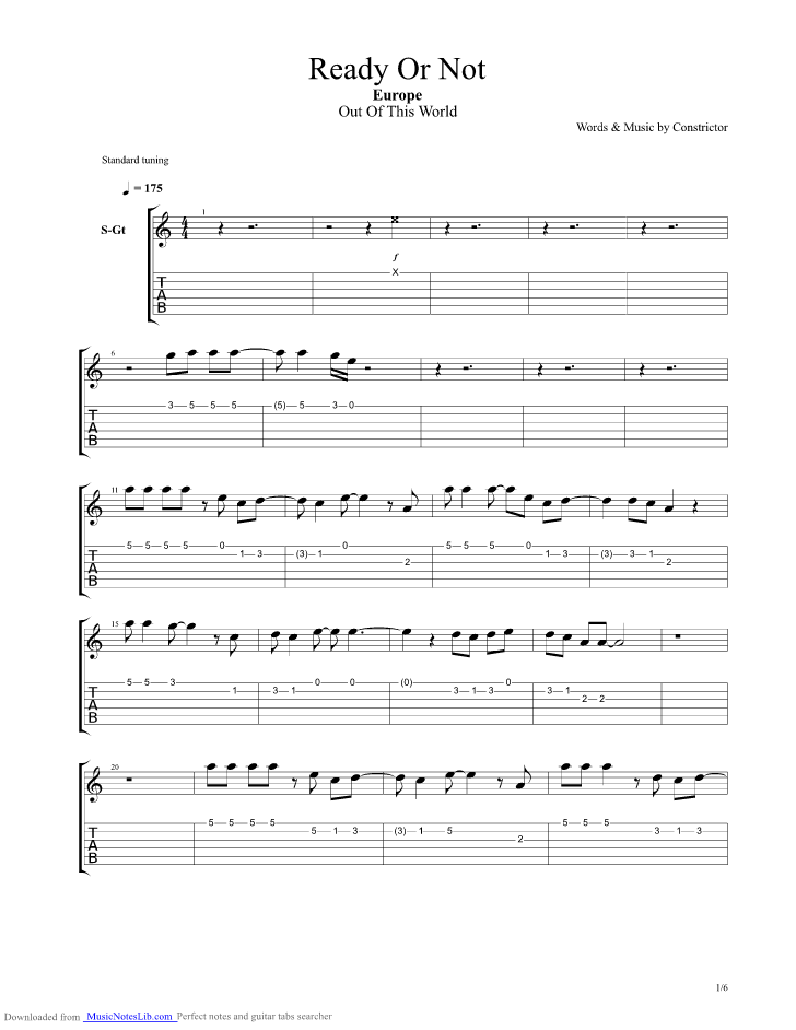 Ready Or Not Guitar Pro Tab By Europe Musicnoteslib