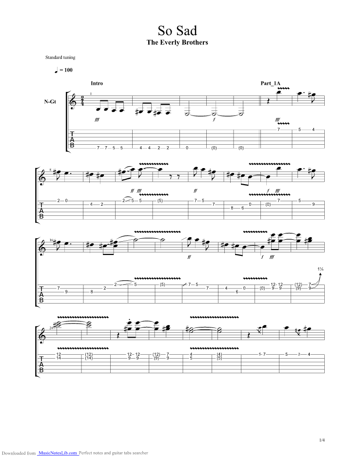 So Sad guitar pro tab by Everly Brothers @ musicnoteslib.com