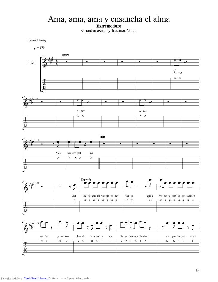 Ama Ama Ama Y Ensancha El Alma Guitar Pro Tab By Extremoduro Musicnoteslib Com