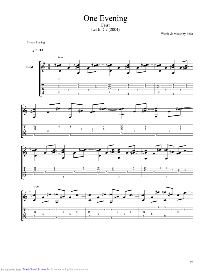 One Evening Guitar Pro Tab By Feist Musicnoteslib