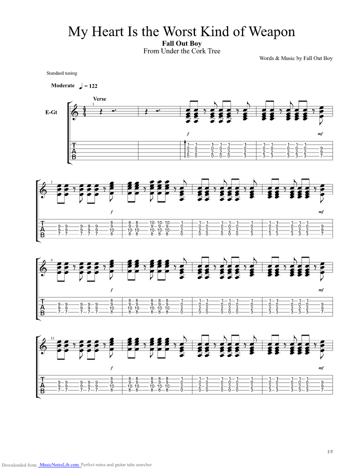 My Heart Is The Worst Kind Of Weapon Guitar Pro Tab By Fall Out Boy