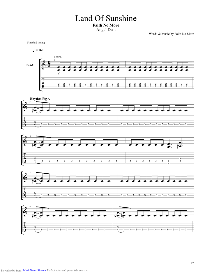 Land Of Sunshine Guitar Pro Tab By Faith No More Musicnoteslib