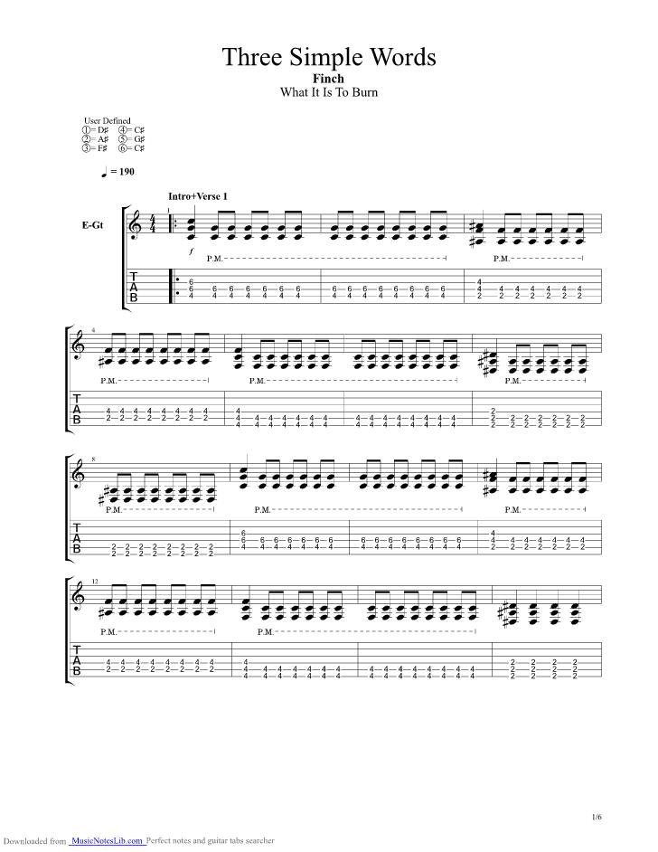 Three Simple Words guitar pro tab by Finch @ musicnoteslib.com