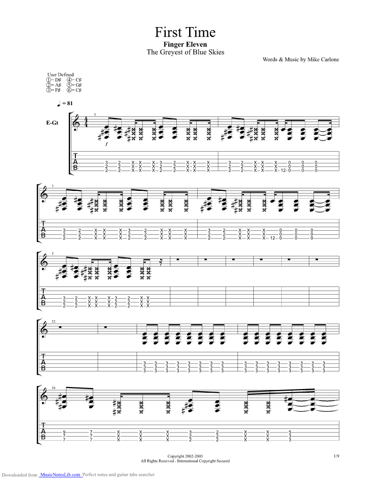 First Time guitar pro tab by Finger Eleven @ musicnoteslib.com