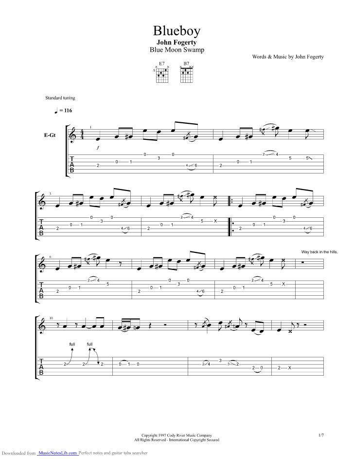 Blueboy guitar pro tab by John Fogerty @ musicnoteslib.com