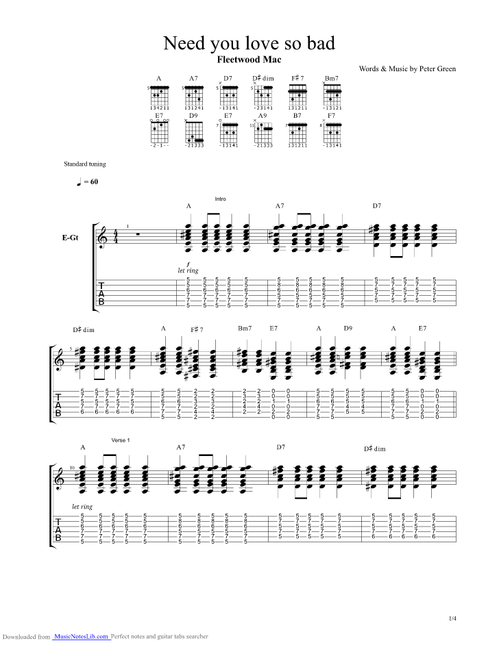 Need Your Love So Bad guitar pro tab by Fleetwood Mac ...