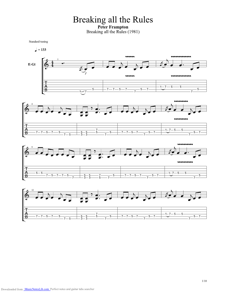 Breaking All The Rules Guitar Pro Tab By Peter Frampton