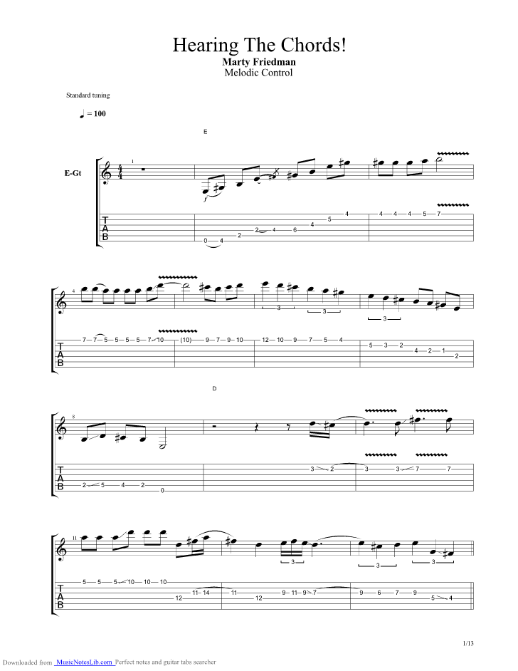 Hearing The Chords Guitar Pro Tab By Marty Friedman Musicnoteslib