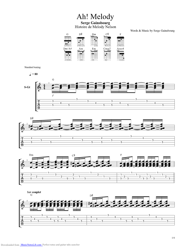 Ah Melody Guitar Pro Tab By Gainsbourg Musicnoteslib
