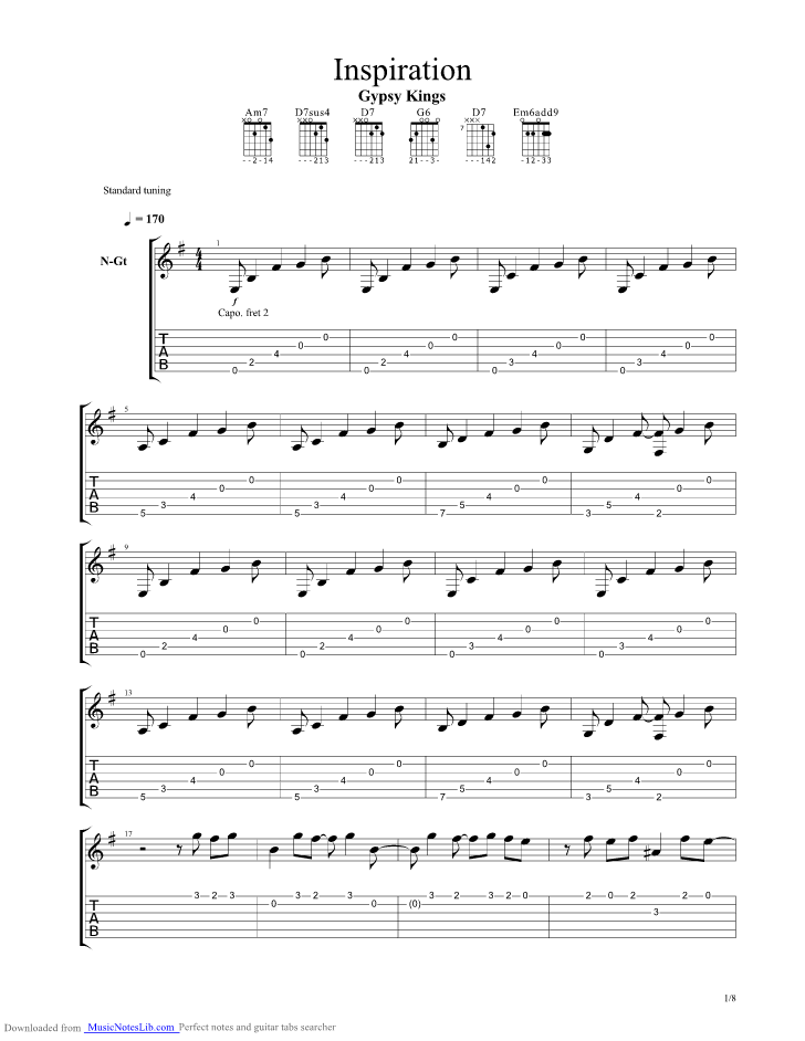 Inspiration Guitar Pro Tab By Gypsy Kings Musicnoteslib