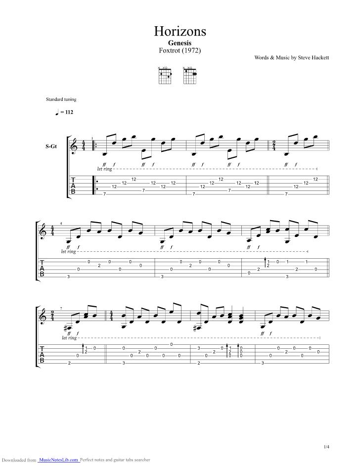 Horizons Guitar Pro Tab By Genesis Musicnoteslib Com