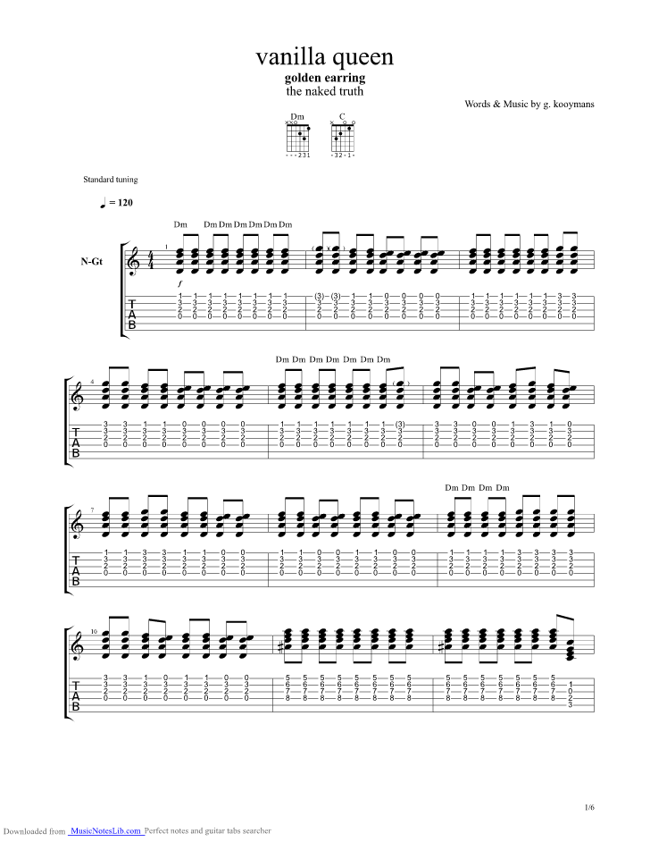Vanilla Queen guitar pro tab by Golden Earring @ musicnoteslib.com