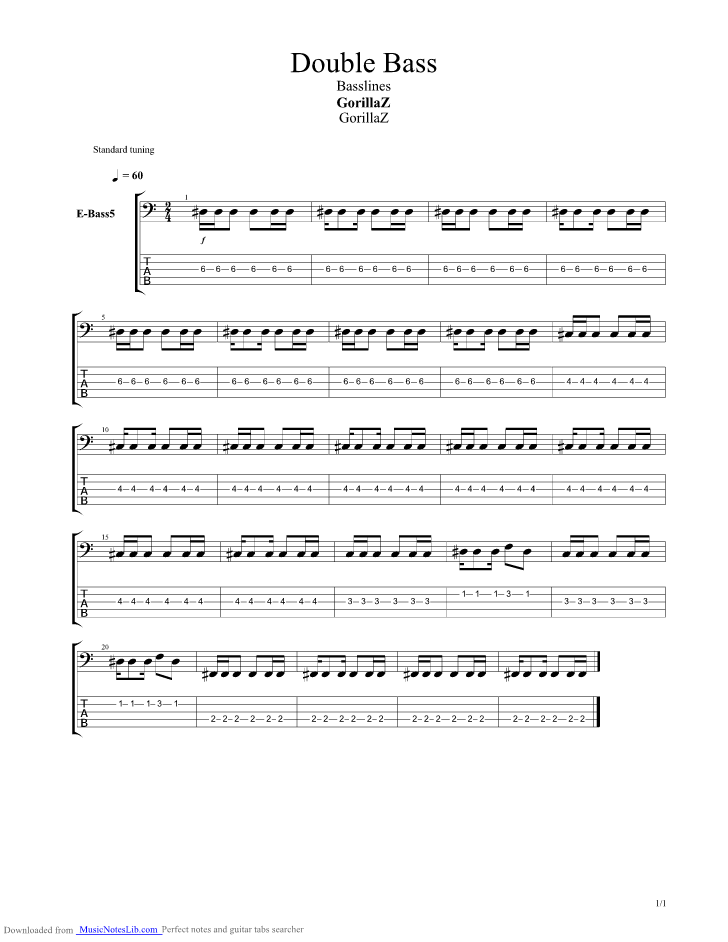 Double Bass Guitar Pro Tab By Gorillaz Musicnoteslib