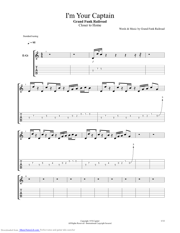 I M Your Captain Guitar Pro Tab By Grand Funk Railroad