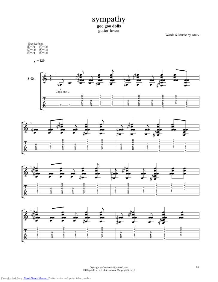 Sympathy Guitar Pro Tab By Goo Goo Dolls Musicnoteslib