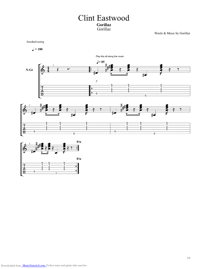 Clint Eastwood Guitar Pro Tab By Gorillaz Musicnoteslib