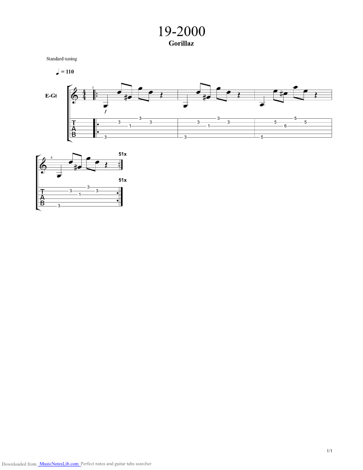 19-2000 guitar pro tab by Gorillaz @ musicnoteslib.com