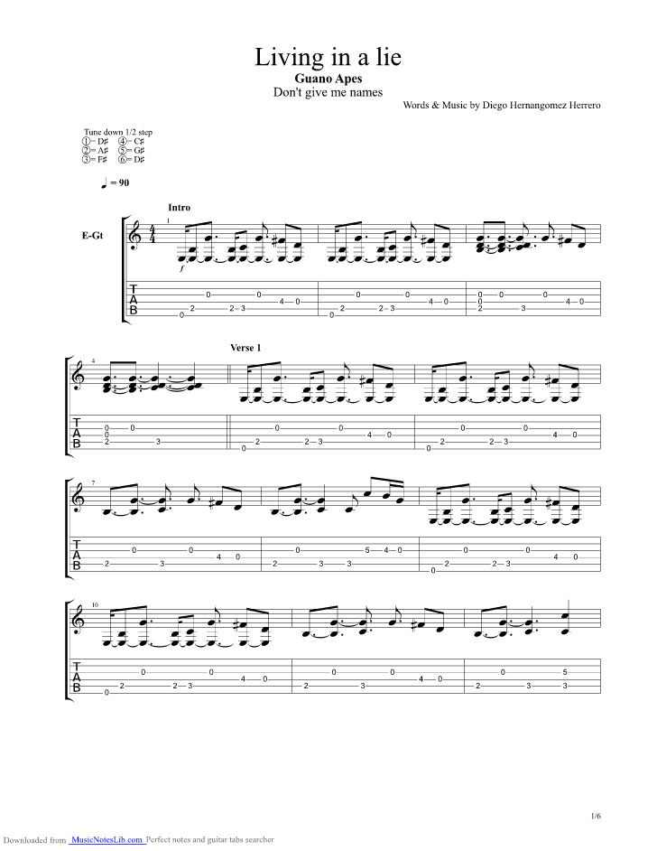 Living In A Lie Guitar Pro Tab By Guano Apes Musicnoteslib