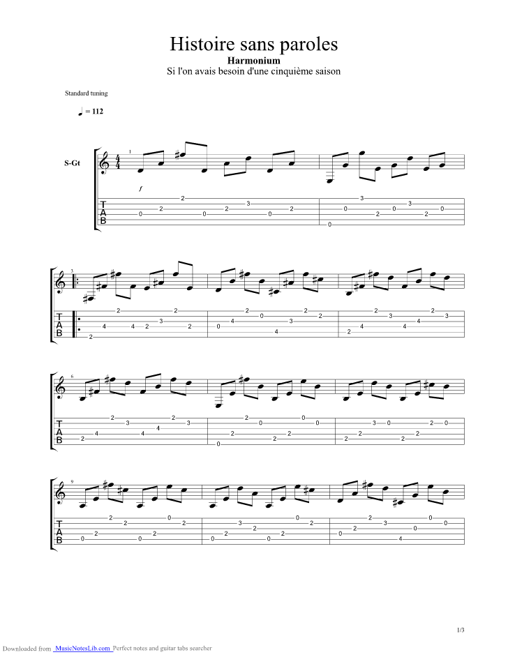 Histoire Sans Paroles Guitar Pro Tab By Harmonium At Musicnoteslibcom