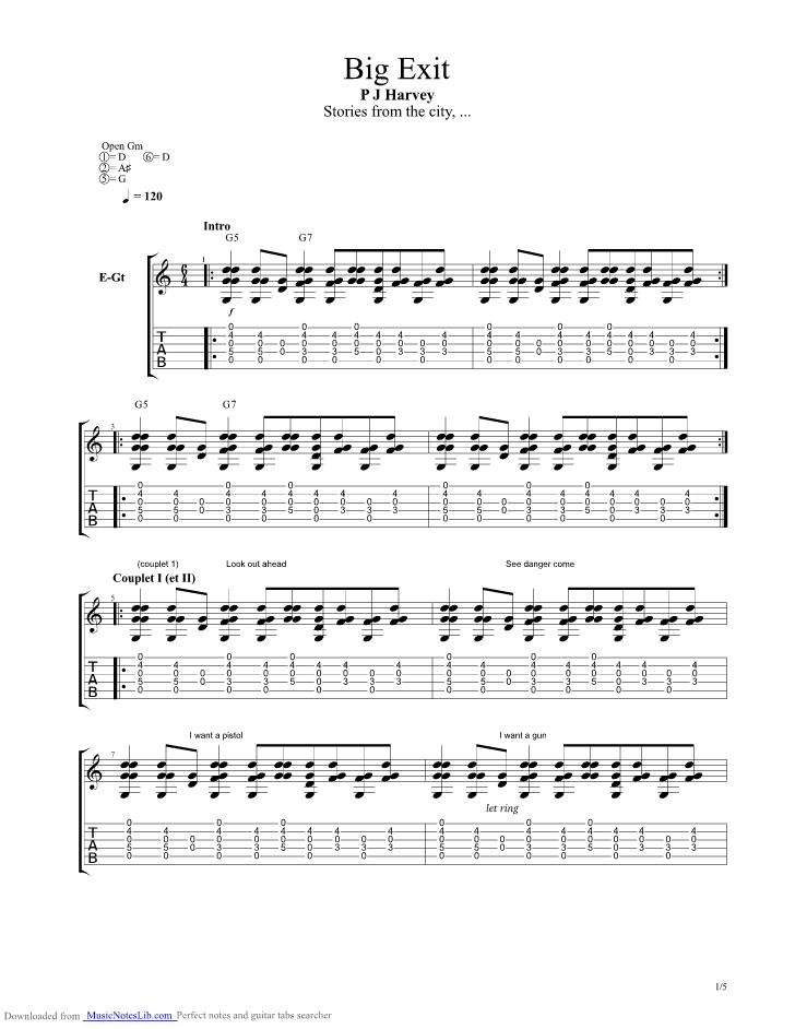 Big Exit Guitar Pro Tab By Pj Harvey Musicnoteslib