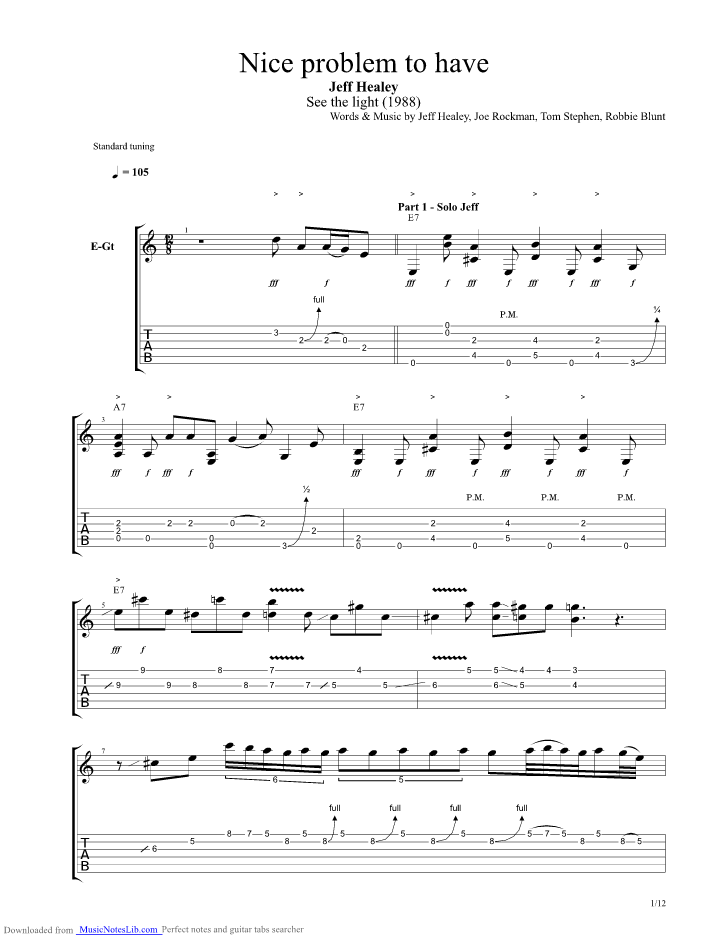 Nice problem to have guitar pro tab by Jeff Healey @ musicnoteslib.com