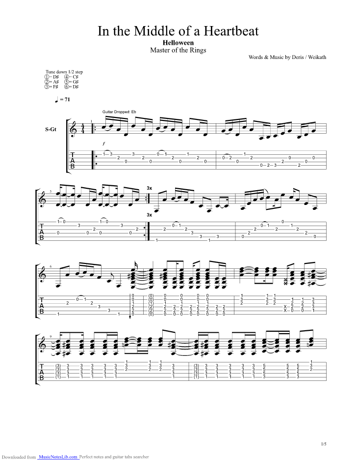 In The Middle Of A Heartbeat Guitar Pro Tab By Helloween