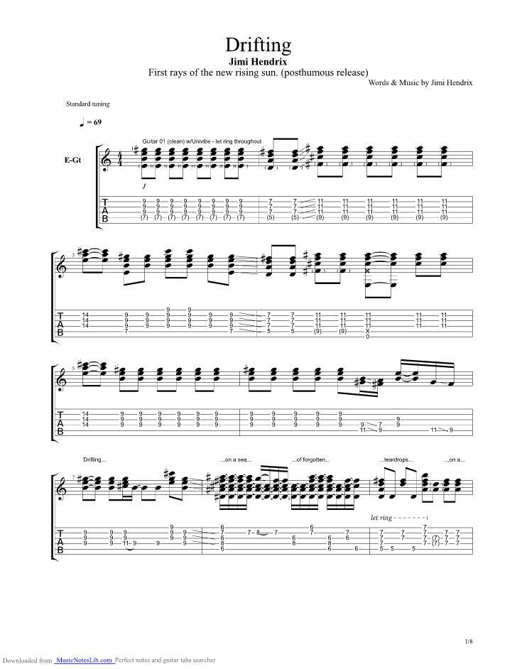 Drifting Guitar Pro Tab By Jimi Hendrix Musicnoteslib