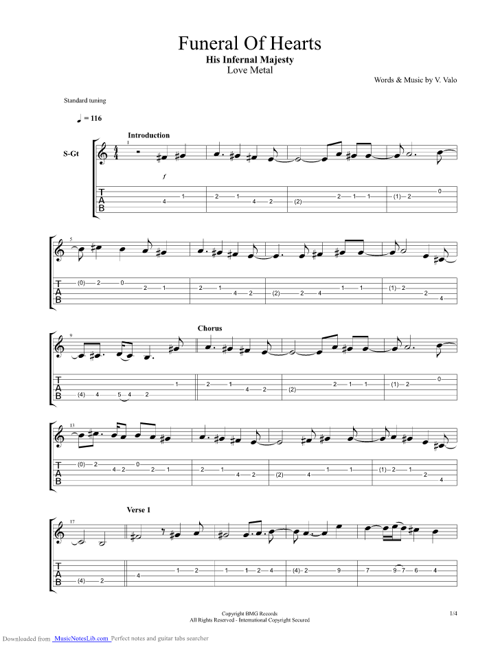 The Funeral Of Hearts Guitar Pro Tab By Him Musicnoteslib