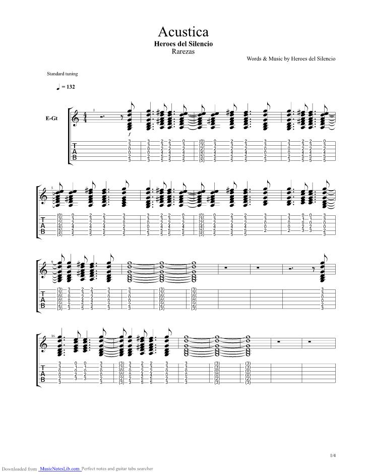 Acustica guitar pro tab by Heroes Del Silencio @ musicnoteslib.com