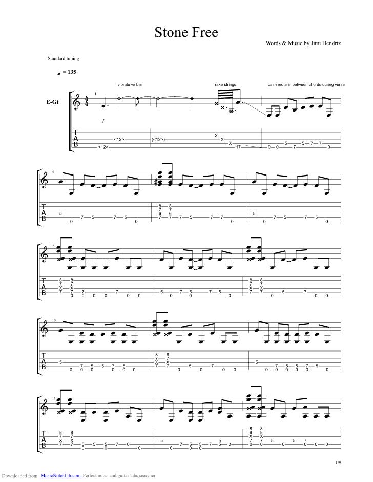 Stone Free Guitar Pro Tab By Jimi Hendrix Musicnoteslib