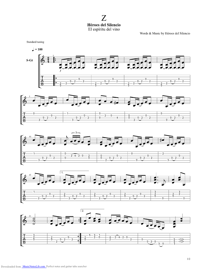 Z guitar pro tab by Heroes Del Silencio @ musicnoteslib.com