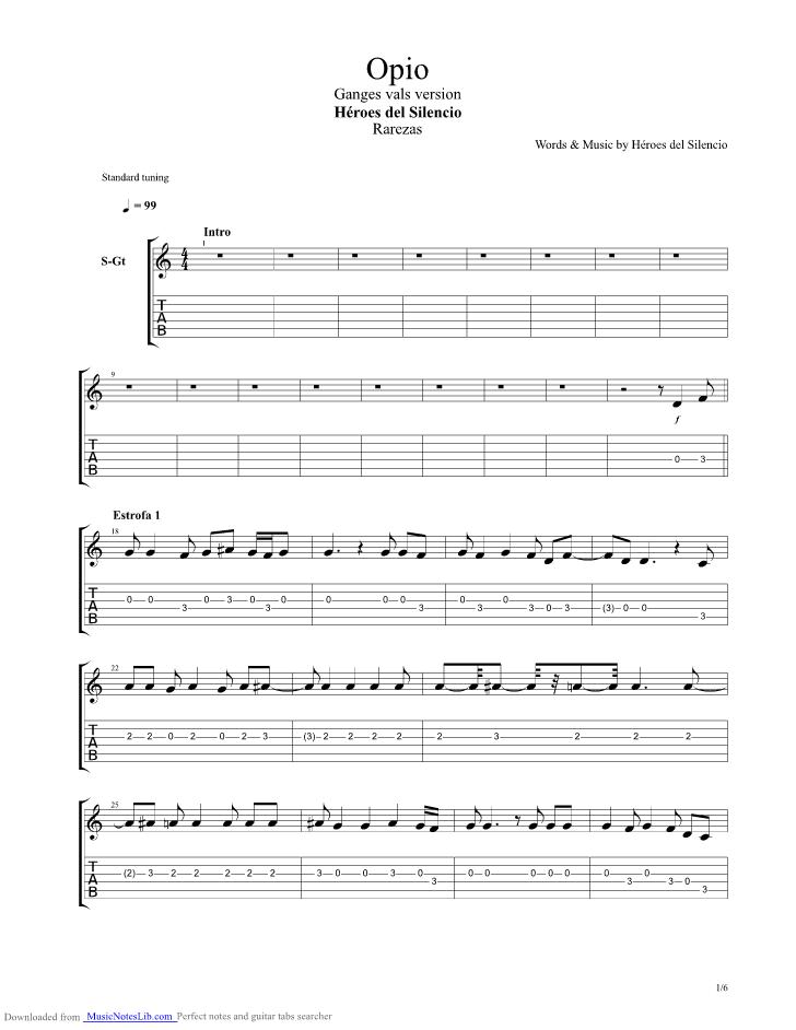 Opio ganges vals version guitar pro tab by Heroes Del Silencio ...