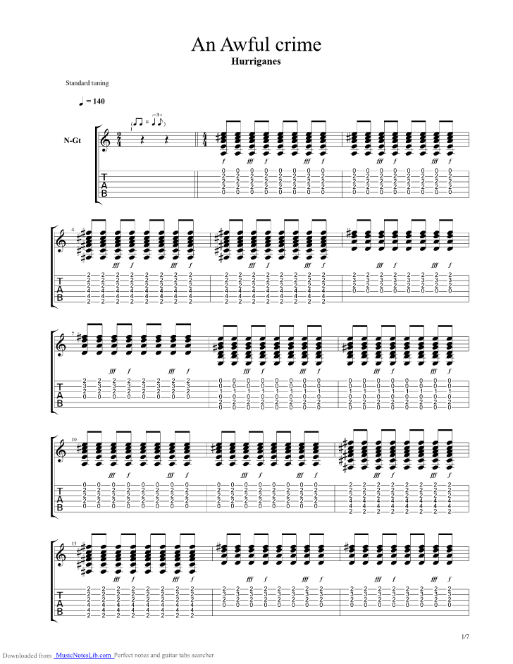 An Awful Crime guitar pro tab by Hurriganes @ musicnoteslib.com