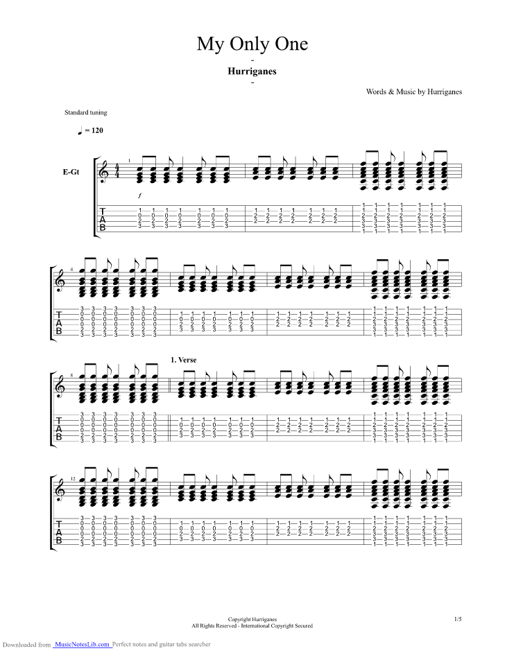 My Only One Guitar Pro Tab By Hurriganes Musicnoteslib