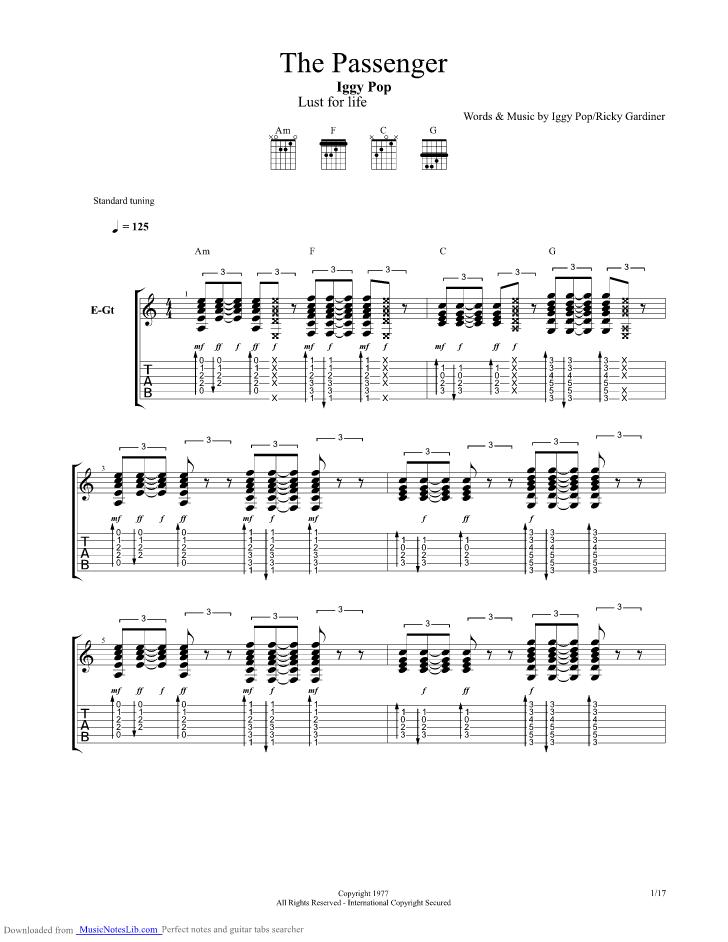 The Passenger Guitar Pro Tab By Iggy Pop Musicnoteslib