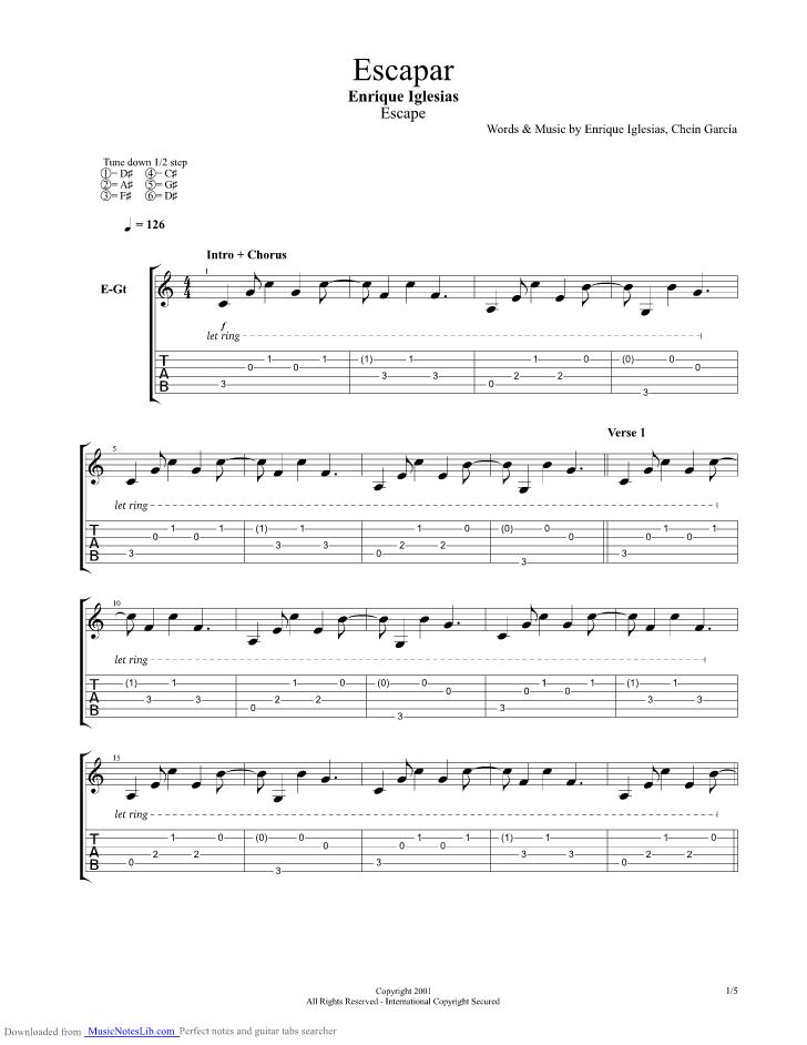 Escapar Guitar Pro Tab By Enrique Iglesias Musicnoteslib