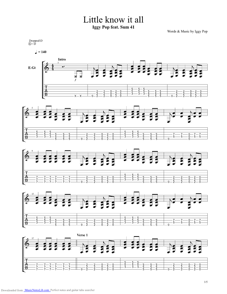 Little Know It All guitar pro tab by Iggy Pop @ musicnoteslib.com