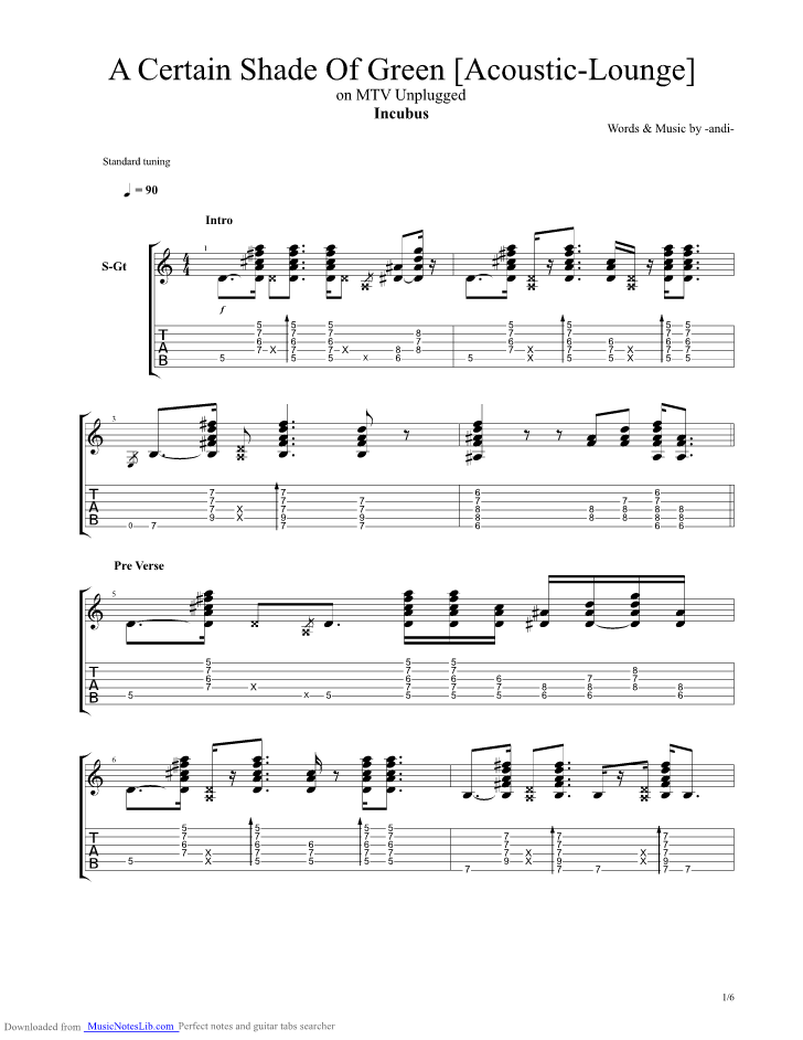 A Certain Shade Of Green Acoustic Guitar Pro Tab By Incubus