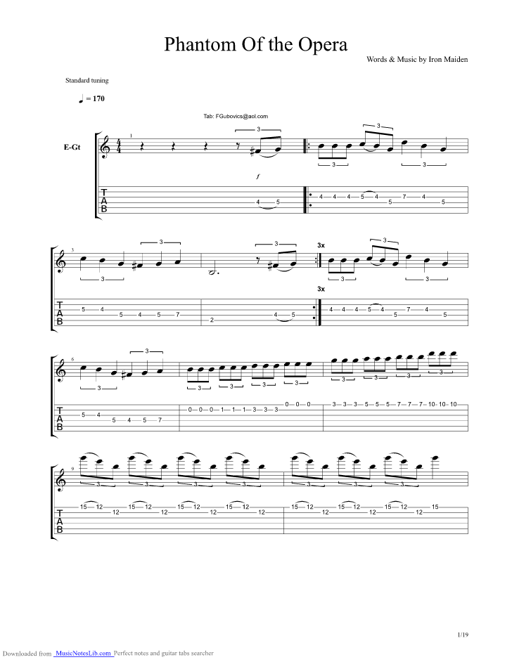 Phantom Of The Opera guitar pro tab by Iron Maiden @ musicnoteslib com