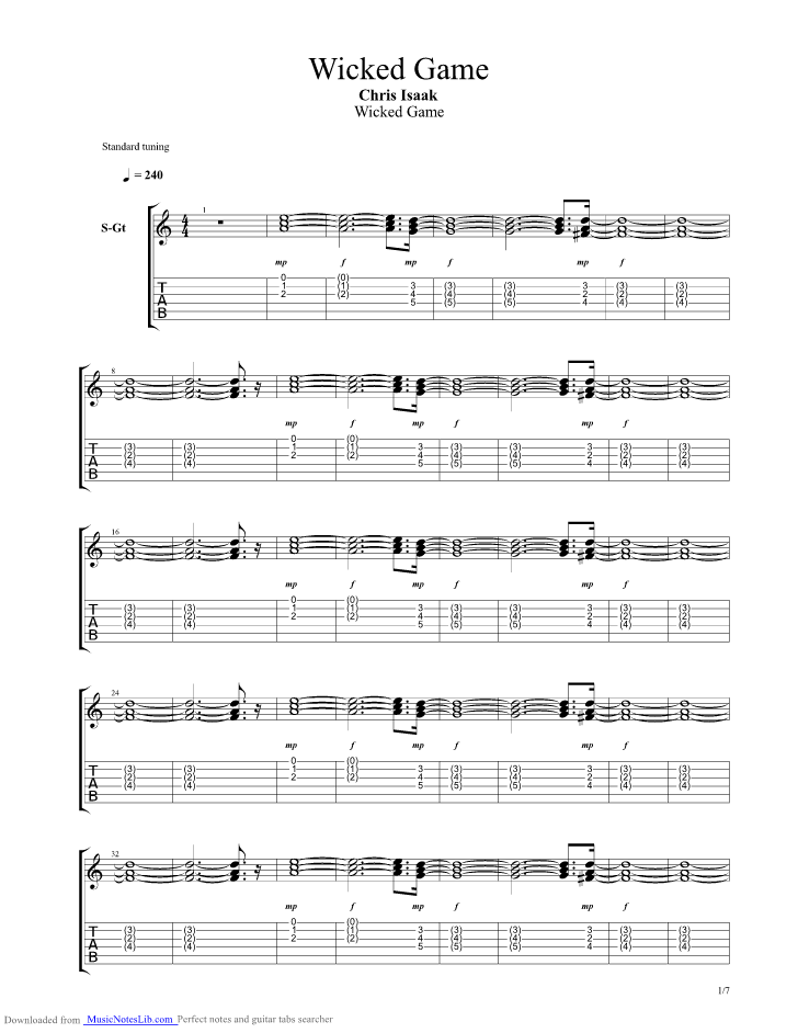 Wicked game guitar pro tab by Chris Isaak @ musicnoteslib.com