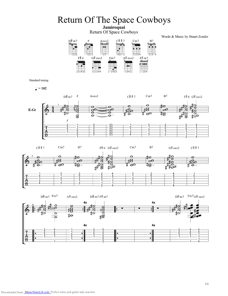 Return Of The Space Cowboys guitar pro tab by Jamiroquai ...