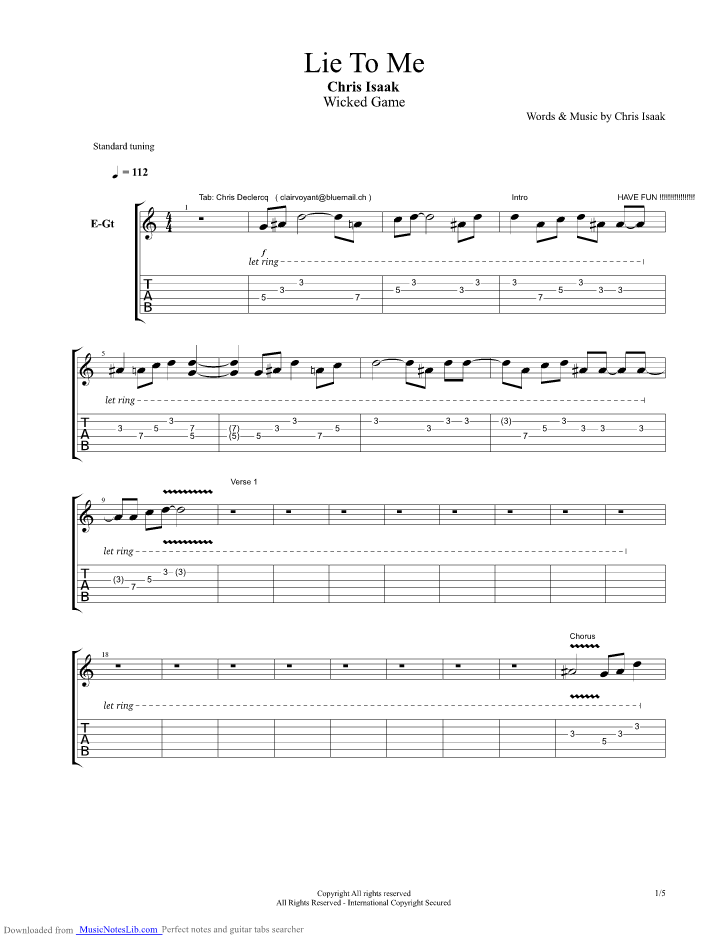 Lie To Me Guitar Pro Tab By Chris Isaak Musicnoteslib