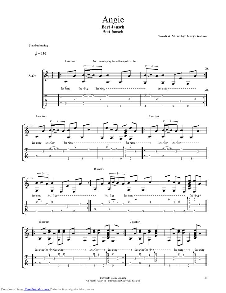 Angie Guitar Pro Tab By Bert Jansch Musicnoteslib